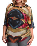 Women - Feather print top (plus)