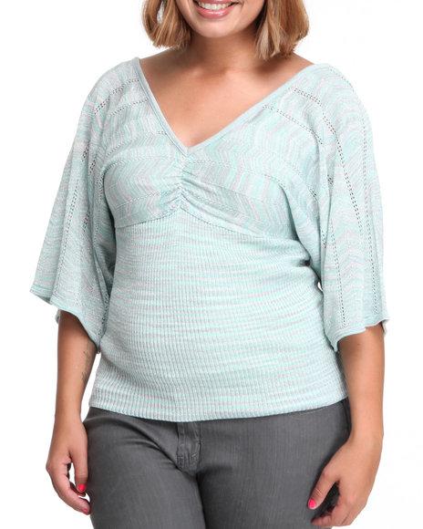 Baby Phat Women Green Space Dye Dolman Sweater (Plus Size)
