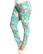 Women - Big flower skinny jean pants (plus)
