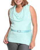 Women - SLEEVELESS COWL SWEATER (PLUS)