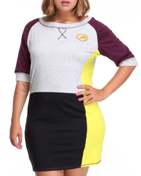 Ecko Red Women Black,Grey,Purple,Yellow Heavy Stretch Color Block Active Dress (Plus Size)