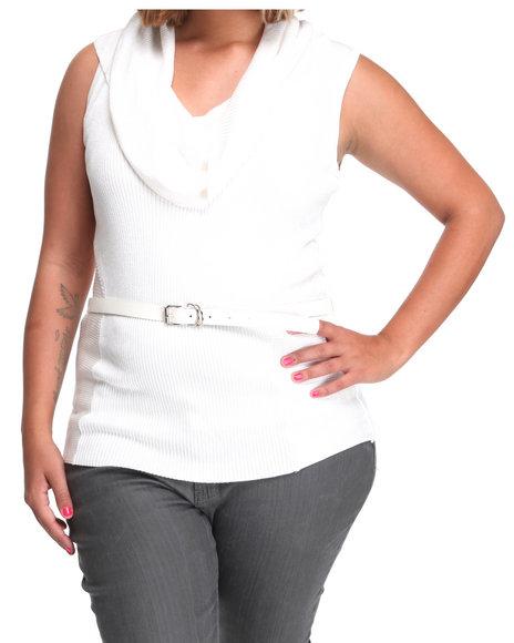 Baby Phat Women White Sleeveless Cowl Sweater (Plus Size)