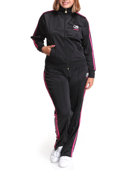 Ecko Red Women Black Tracksuit Set W/Stripe Detail (Plus)