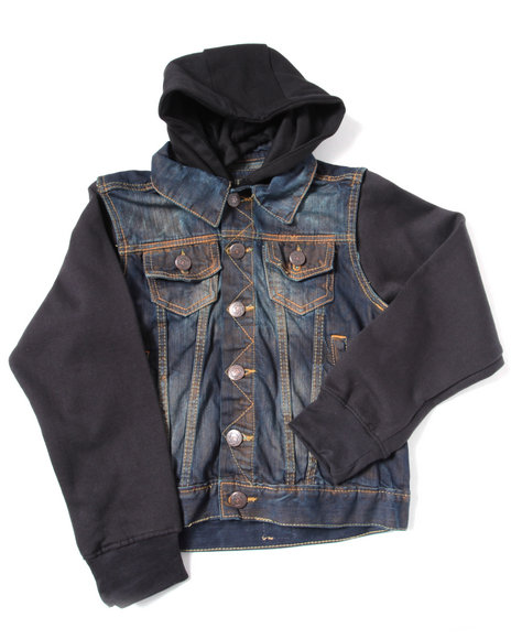 denim vest w/ hood & sleeves (8-20)