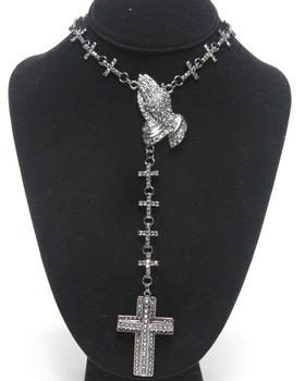 Hip Hop Accessories - Praying Hands Bling Cross Rosary Necklace
