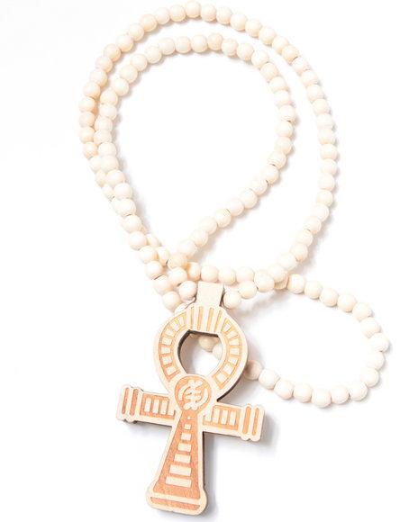 Hip Hop Accessories Men Egyptian Cross Wood Bead Necklace Tan 1SZ