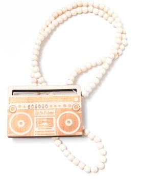 Hip Hop Accessories - Boombox Wood Bead Necklace
