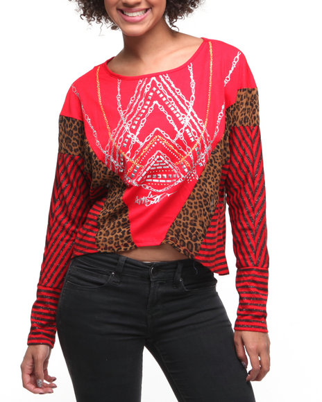 Apple Bottoms Women Red Mixed Fabric Printed Stripe Dolman Top