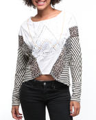 Tops - Mixed Fabric Printed Stripe Dolman Top