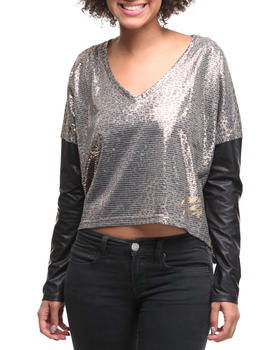 Apple Bottoms - Vneck PU Leather Sleeve Top