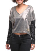 Tops - Vneck PU Leather Sleeve Top