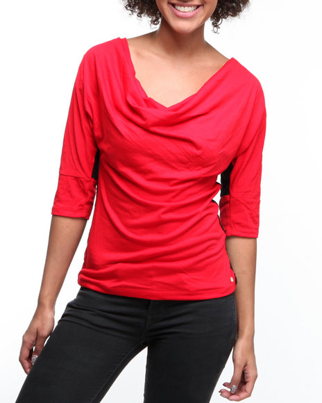 Apple Bottoms Women Red Mixed Fabric Sweater With Lace Top