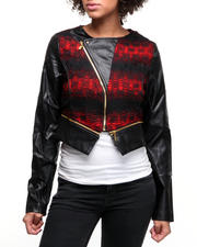 Women - Long Sleeve Tweed Front Leather Jacket