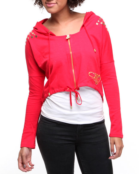 Apple Bottoms Women Red French Terry Active Hooded Stud Trim Jacket