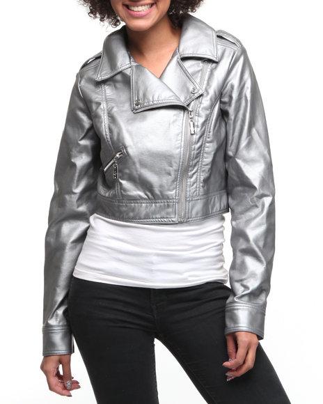 Baby Phat Women Silver Cropped Moto Jacket
