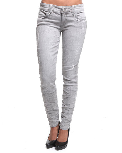 Baby Phat Women Grey Distressed Skinny Jeans