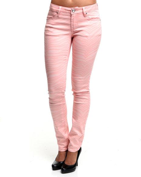 Basic Essentials - Women Pink Zebra Printed Skinny Jeans
