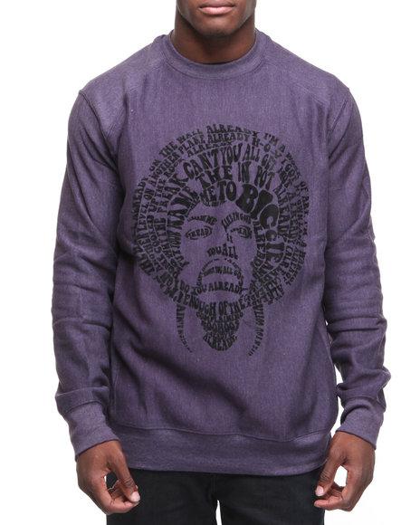 Rocawear Men Purple Rocawear X Jimi Hendrix L/S Experience Fleece Crewneck Sweatshirt