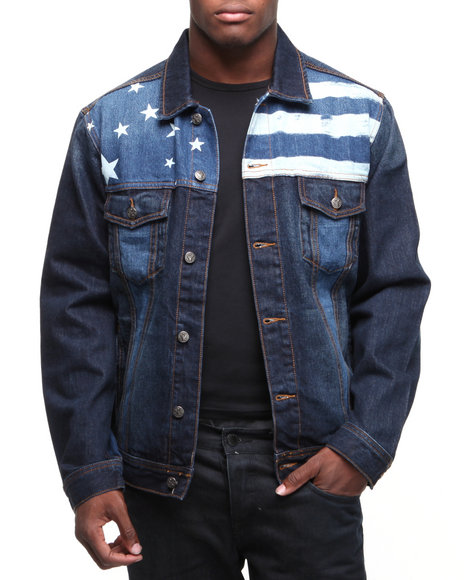 Rocawear Men Dark Wash Rocawear X Jimi Hendrix Flag Denim Jacket