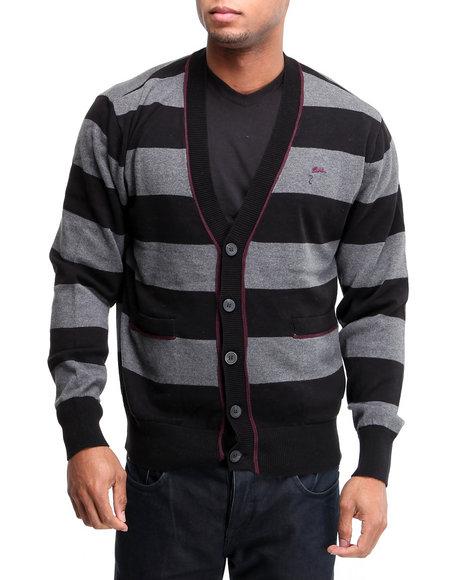 A Tiziano Men Grey Bret Striped Sweater Cardigan