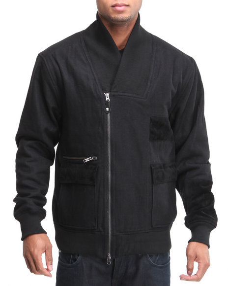 A Tiziano Men Black David Leather Trim Wool Bomber