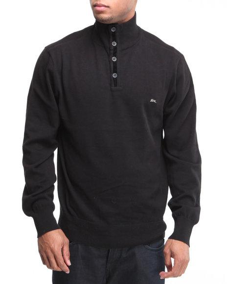 A Tiziano Men Black Casper Pullover Mock Turtleneck Sweater