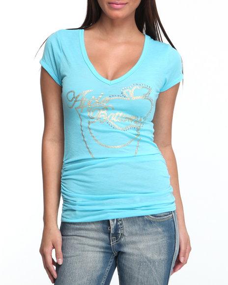 Apple Bottoms Women Light Blue V-Neck T-Shirt