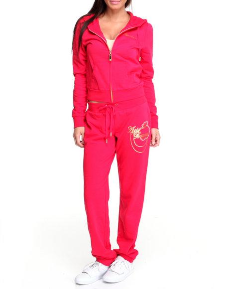 Apple Bottoms Women Red Long Sleeve Active Hoodie Set