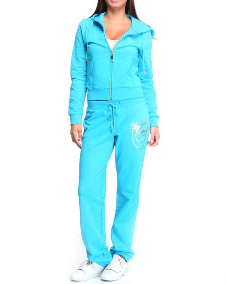 Apple Bottoms Women Light Blue Long Sleeve Active Hoodie Set