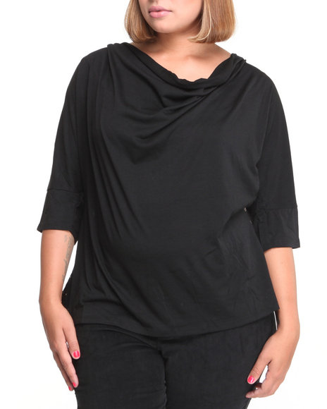 Apple Bottoms Women Black Mixed Fabric Sweater W Lace Top (Plus Size)