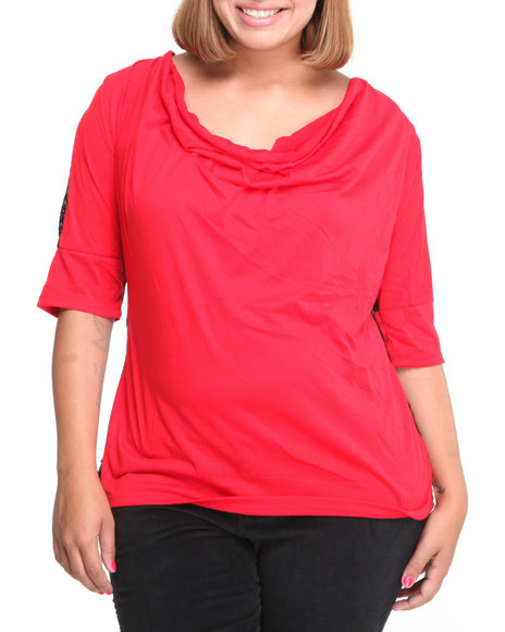 Apple Bottoms Women Red Mixed Fabric Sweater With Lace Top (Plus Size)