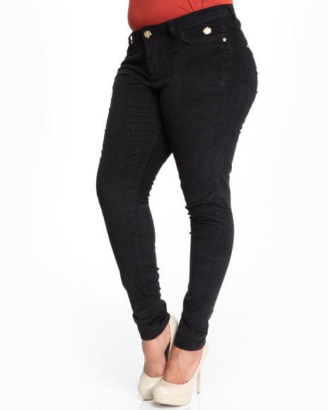 Apple Bottoms Women Black Skinny Logo Stretch Corduroy Jean (Plus Size)