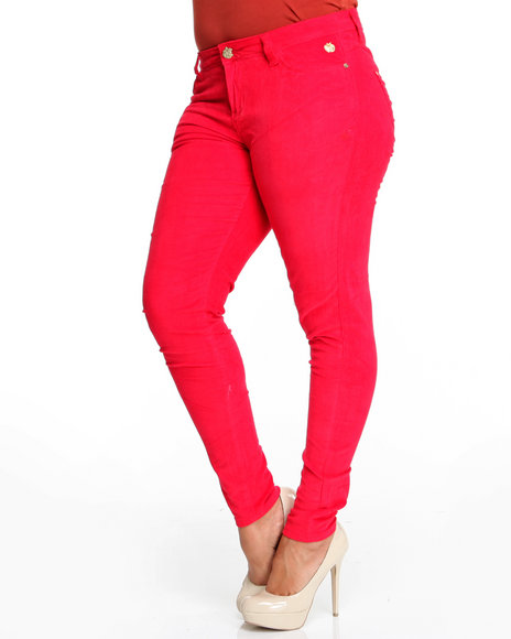 Apple Bottoms Women Red Skinny Logo Stretch Corduroy Jean (Plus Size)