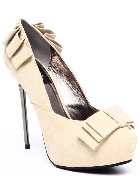 Fashion Lab Women Tan City Girl Ruffle & Bow Detail Pump
