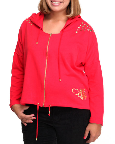 Apple Bottoms Women Red French Terry Active Hooded Stud Trim Jacket (Plus Size)