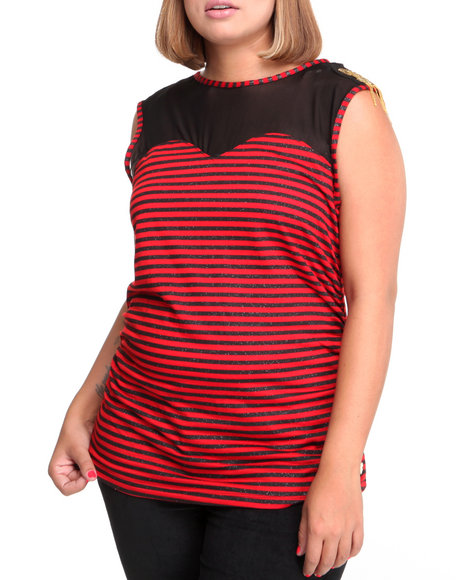 Apple Bottoms Women Red Jeweled Shoulder Illusion Striped Top (Plus Size)