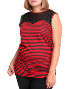 Tops - Jeweled Shoulder Illusion Striped Top (Plus)