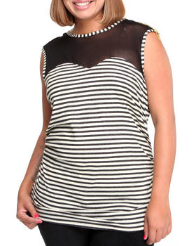 Apple Bottoms - Jeweled Shoulder Illusion Striped Top (Plus)
