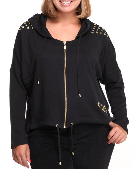 Apple Bottoms Women Black French Terry Active Hooded Stud Trim Jacket (Plus Size)