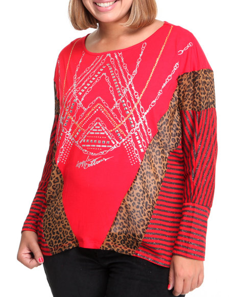 Apple Bottoms Women Red Mixed Fabric Printed Stripe Dolman Top (Plus Size)