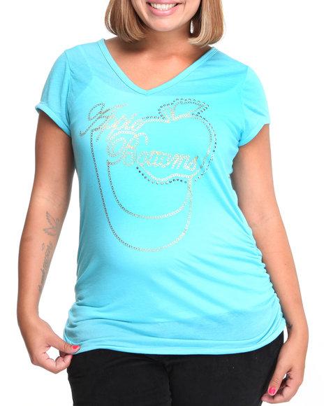 Apple Bottoms Women Light Blue V Neck Tshirt (Plus Size)