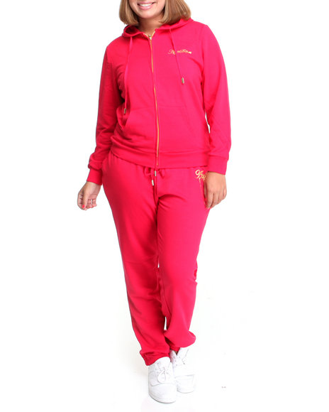 Apple Bottoms Women Red Long Sleeve Active Hoodie Set (Plus Size)