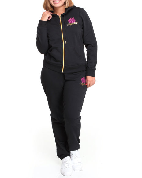 Apple Bottoms Women Black Long Sleeve Active Hoodie Set (Plus Size)