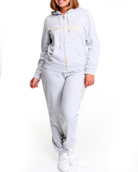 Apple Bottoms Women Light Grey Long Sleeve Active Hoodie Set (Plus Size)