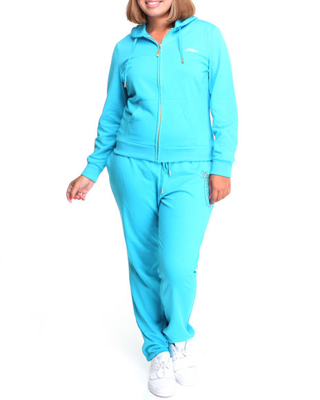 Apple Bottoms Women Light Blue Long Sleeve Active Hoodie Set (Plus)