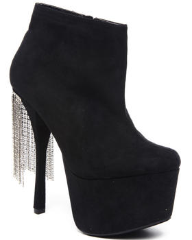 Fashion Lab - Jean ankle bootie w/fridge chains