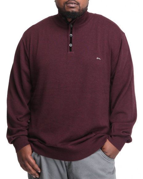 A tiziano maroon casper pullover mock turtleneck sweater for Big and tall mock turtleneck shirt
