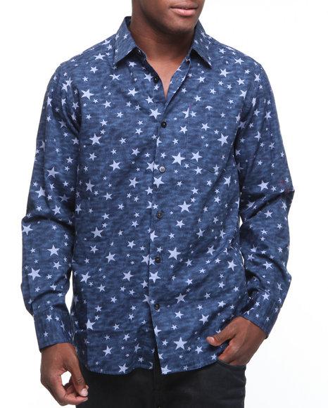 Rocawear Men Blue Rocwear X Jimi Hendrix L/S Star Print/Tie-Dye Button-Down