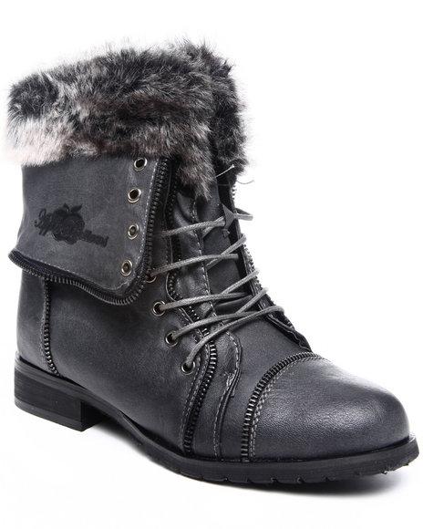 Apple Bottoms Women Grey Trinika Faux Fur Trim Boot