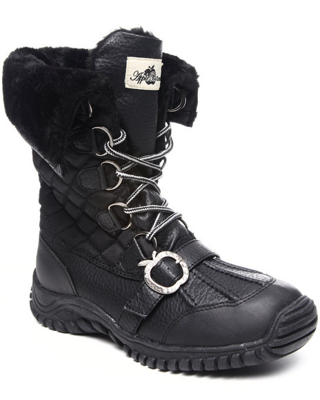 Apple Bottoms Women Nadia Short Lace Up Boot W/ Faux Interior Fur Lining